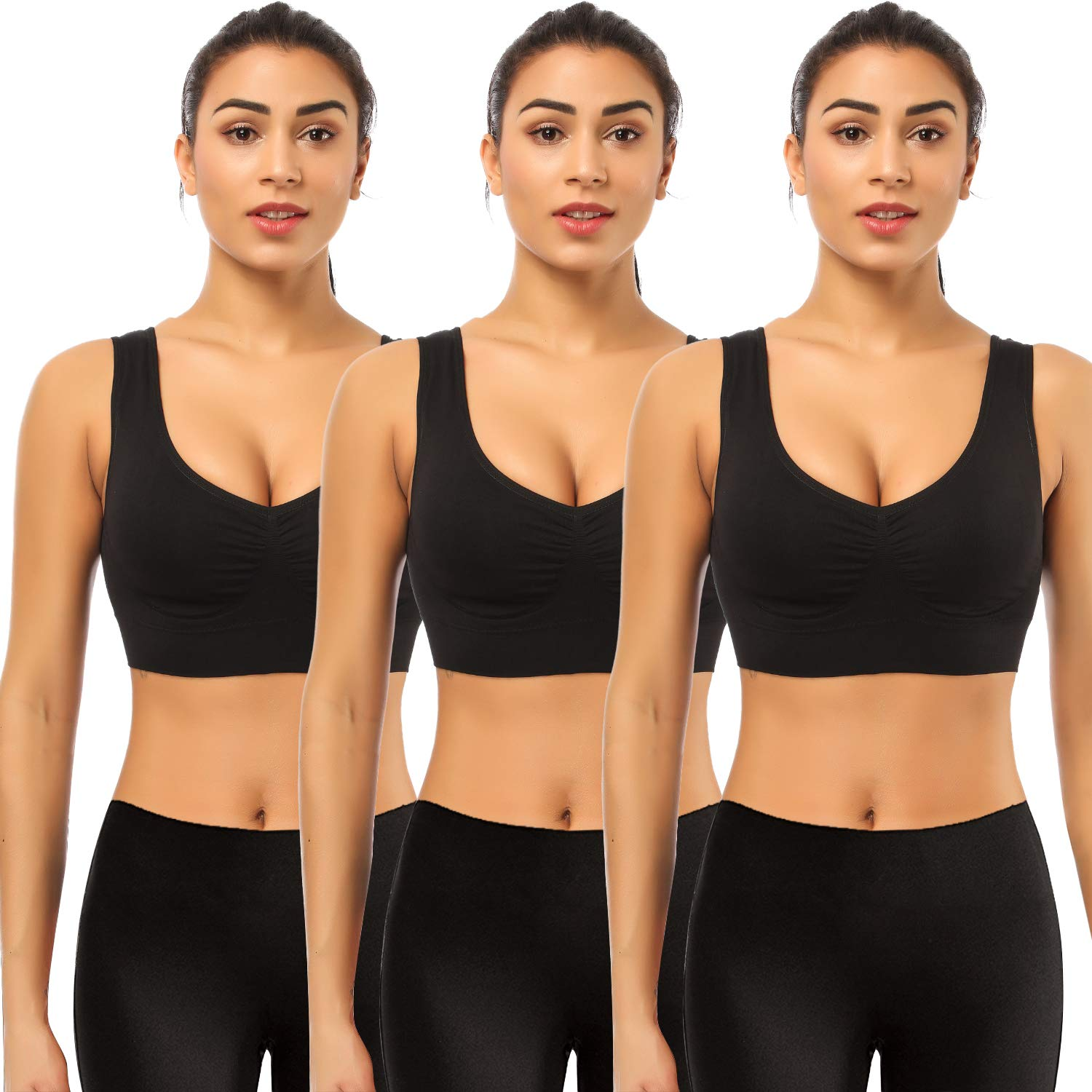 BESTENA Sports Bras for Women, 3 Pack Seamless Comfortable Yoga Bra with Removable Pads(Black,Small)