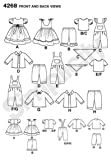 Simplicity 4268 Baby Doll Clothes Sewing Pattern