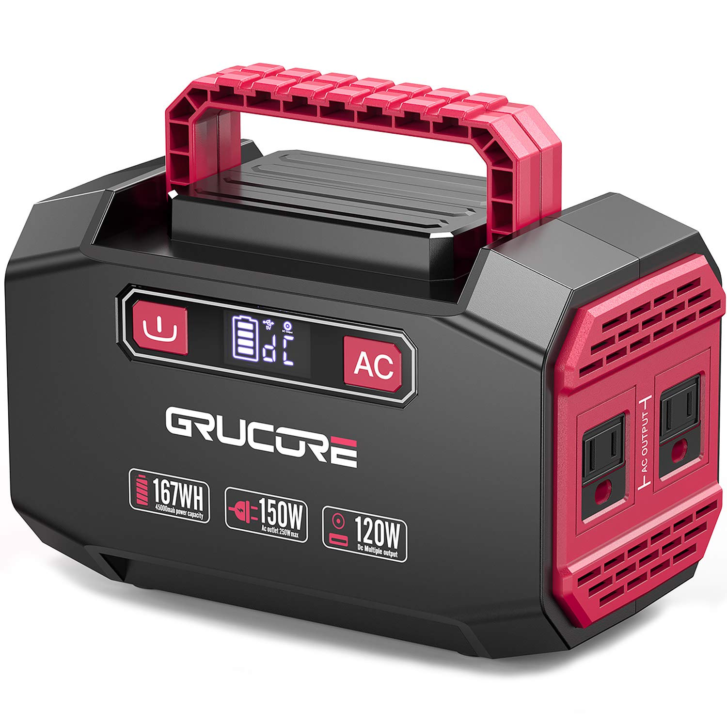 GRUCORE 178Wh Lithium Portable Power Station, CPAP Battery Pack Backup Power Supply with 110V/150W(Peak 250W) AC Inverter Outlet for Outdoors Camping Fishing Home Emergency ¡
