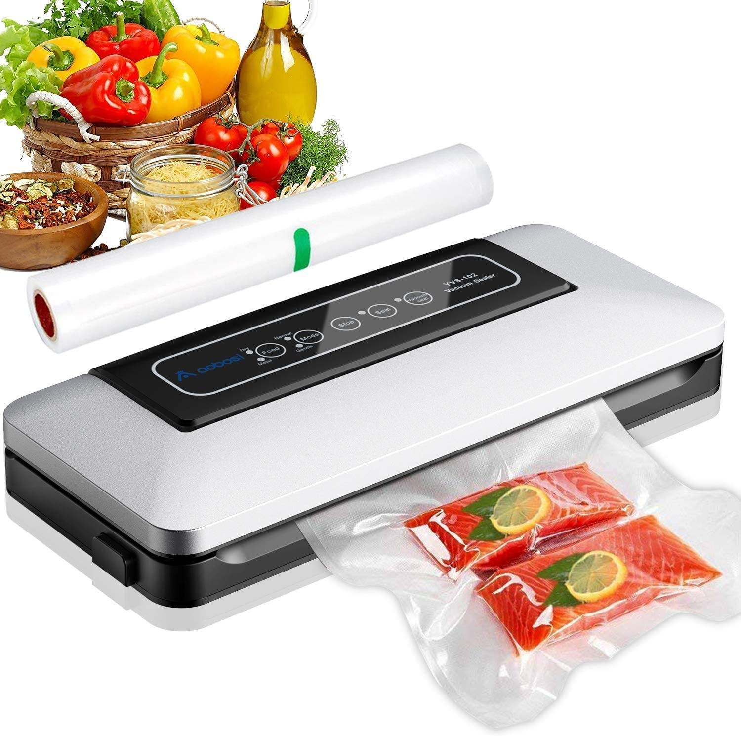 Aobosi Vacuum Sealer/5 In 1 Automatic Food Sealer Machine for Food Storage and Preservation with Dry&Moist Modes for Sous Vide,Led Indicator Lights&Started Kit of Rolls&Hose for Home 11 x 5 x 2 inches