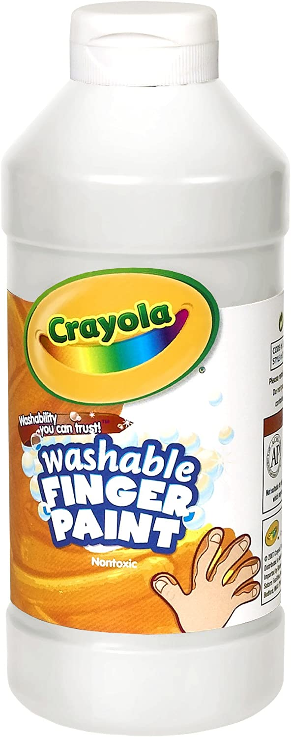 Crayola Fingerpaint, White, 32 Ounces, Washable Kids Paint, Ages 3+, White Washable Fingerpaint, Quart (55-1332-053): Toys & Games