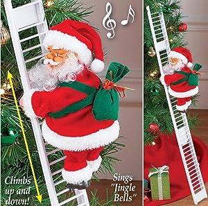 Jeash Mr. Christmas Super Climbing Santa Holiday Decor, Santa Climbing Ladder with Bag of Presents, Indoor Christmas Decoration Christmas Tree Ornament