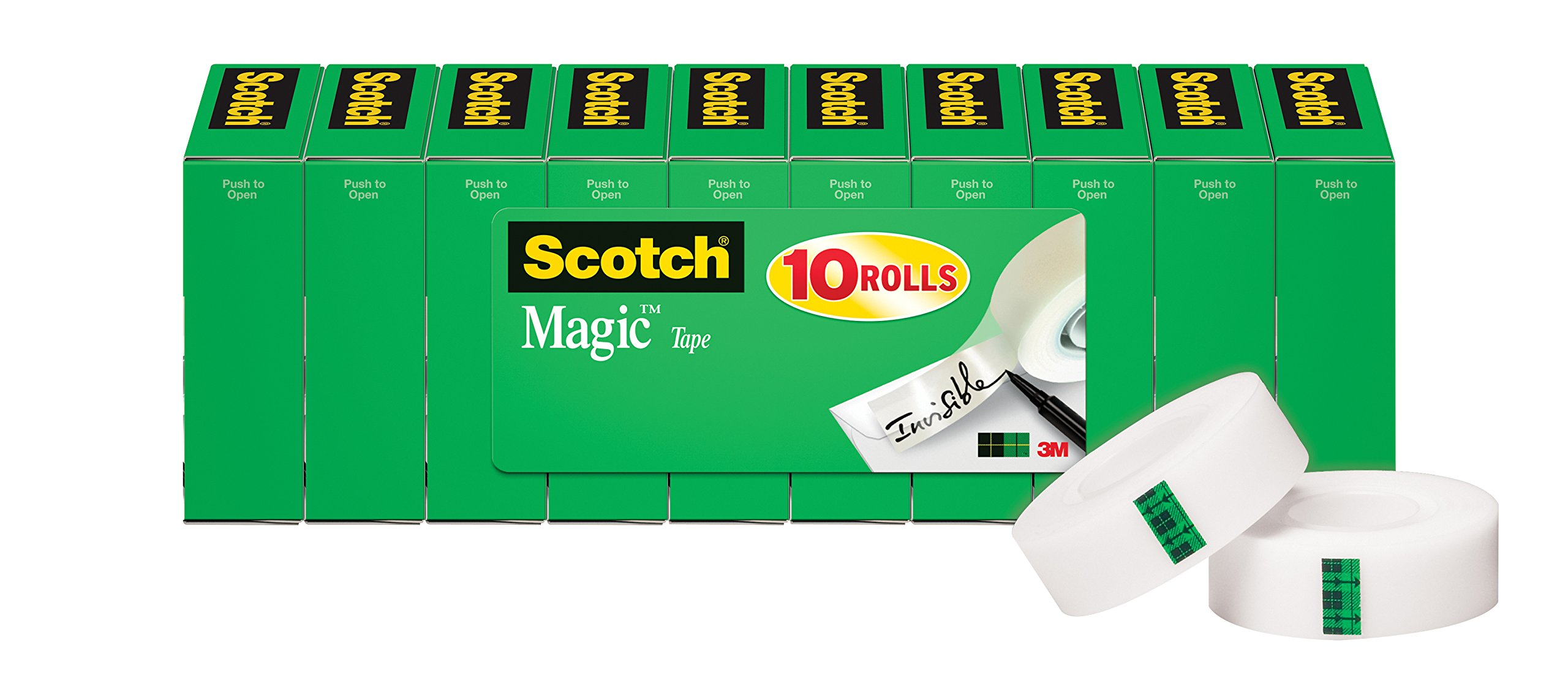 Scotch Magic Tape, Numerous Applications, Invisible, Engineered for Repairing, 3/4 x 1000 Inches, Boxed, 10 Rolls (810P10K) by Scotch Brand