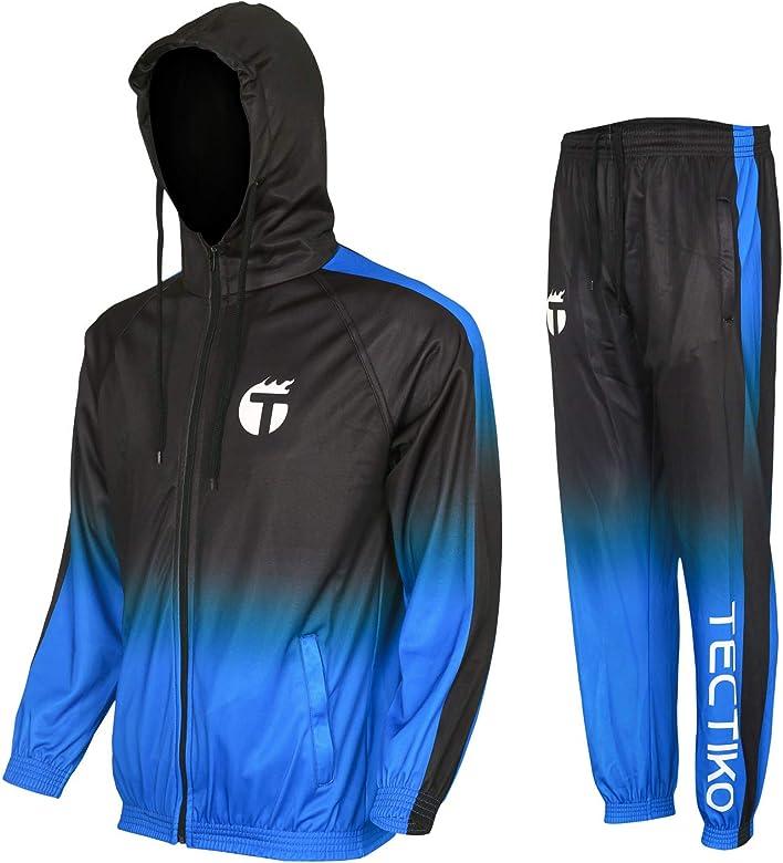 FRPE Men Gym Workout Hooded Sweatsuit Sportswear Jogger Pants Tracksuits