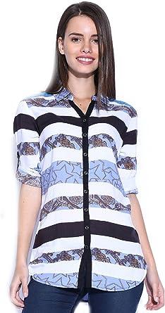 Camisa blanca y azul de rayas de la Mujer: Amazon.es: Ropa y ...