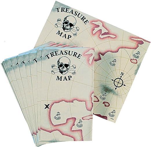 Elfos y Enanos 12 x Tarjeta del Tesoro Pirata del Tesoro Pirata Party Mapa Situación Plan schatzsuche Schnitzel Caza: Amazon.es: Juguetes y juegos