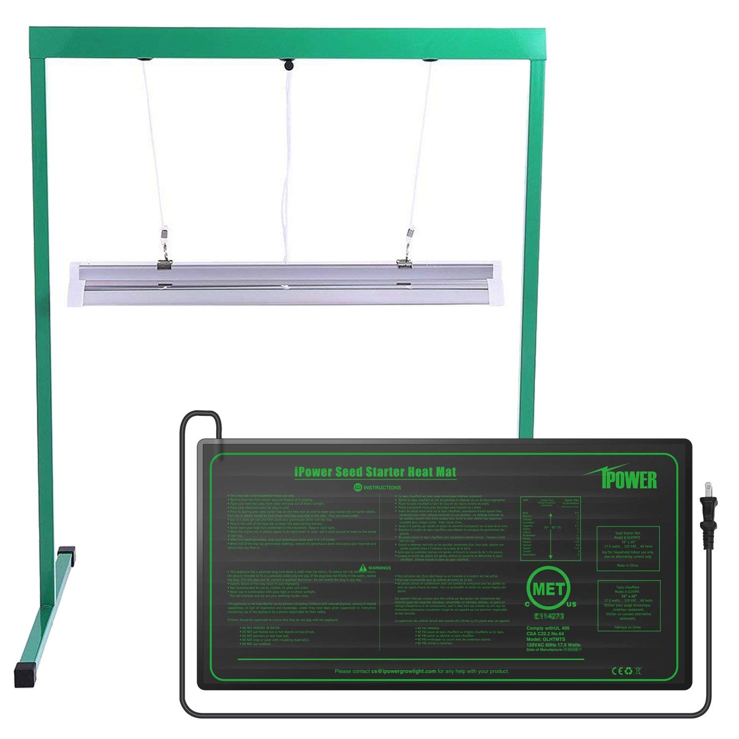 iPower GLSTNDT52FHTMTS 24W 2 Feet T5 Fluorescent Grow Light Stand Rack (6400k) and 10'' x 20.5'' Hydroponic Seedling Heat Mat Combo Set for Seed Germination, Green