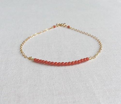 14kt Gold Filled Red Coral Bracelet