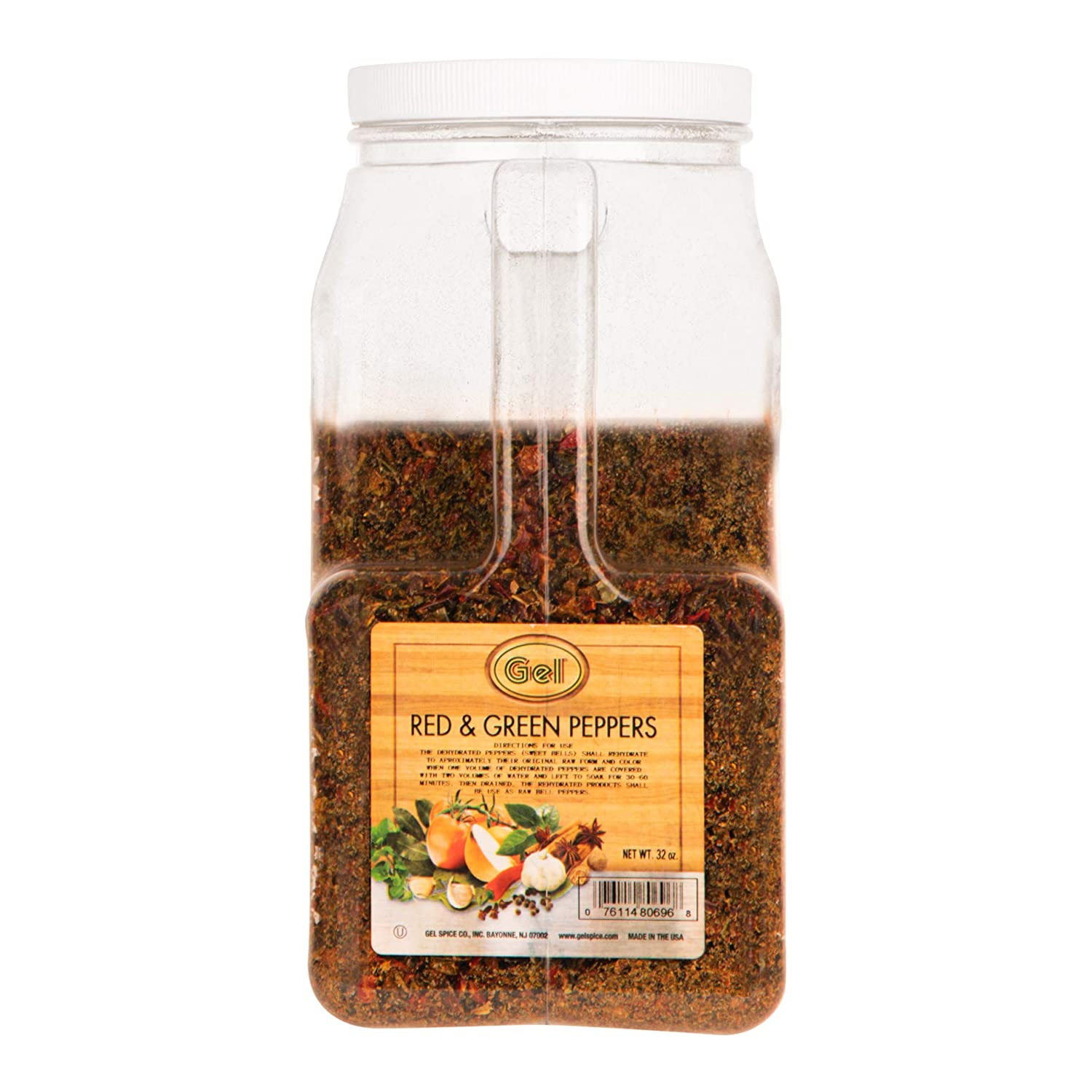 Gel Spice Red and Green Mixed Bell Pepper Flakes – Dehydrated Vegetables for Cooking, Camping,and Emergency Supply - Bulk Size -32 Ounce