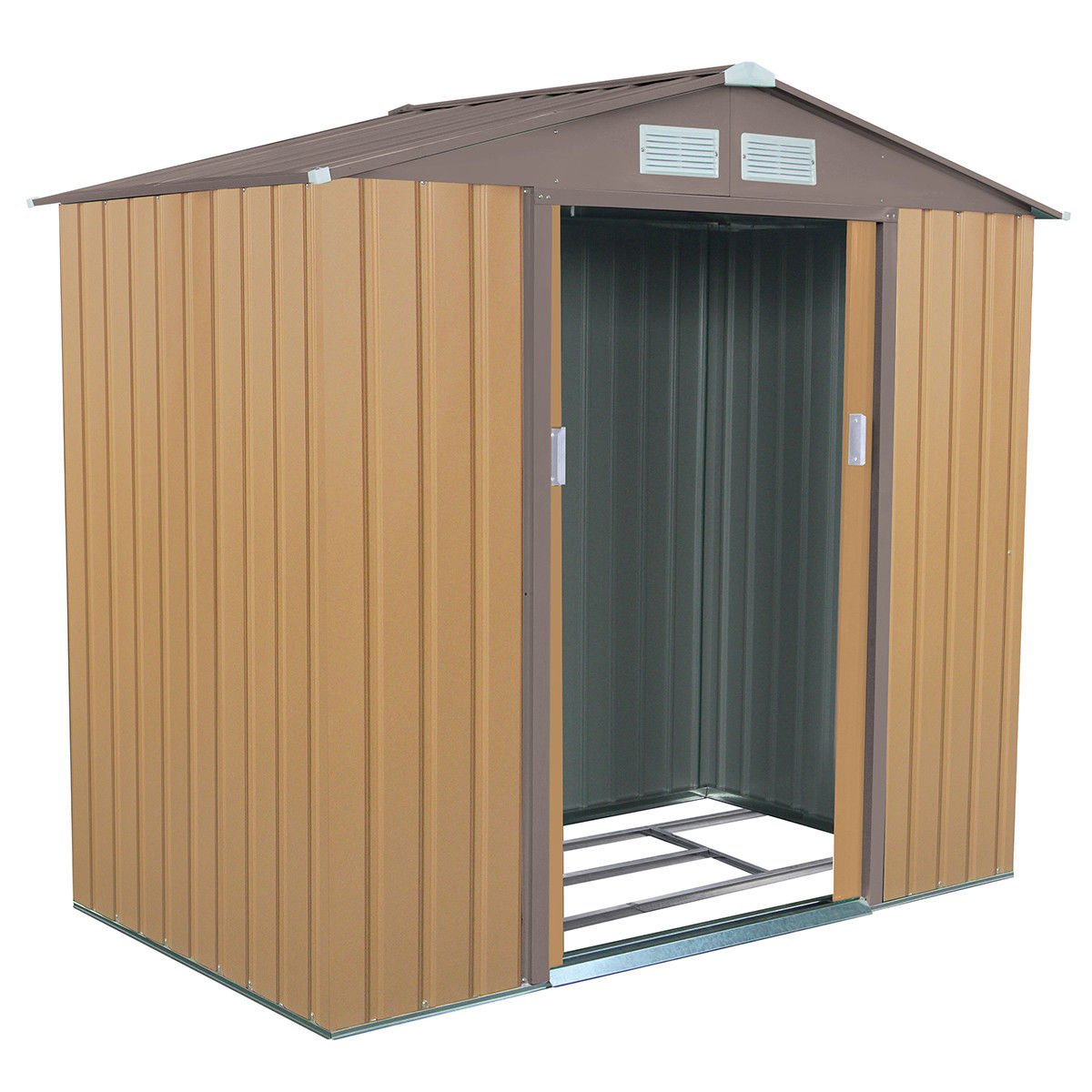 Goplus 7' X 4' Outdoor Storage Shed Tool House Sliding Door Steel Garden Backyard Sheds (Khaki)