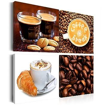 decomonkey Leinwandbilder Küche Kaffee: 60x60 cm XXL - 4 Teilig ...