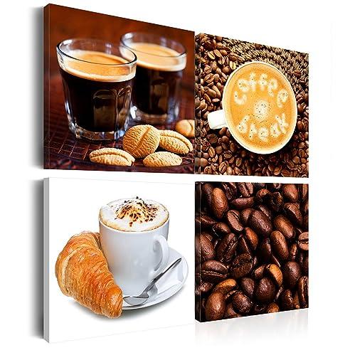 Leinwandbilder Küche Kaffee: 60X60 Cm Xxl - 4 Teilig
