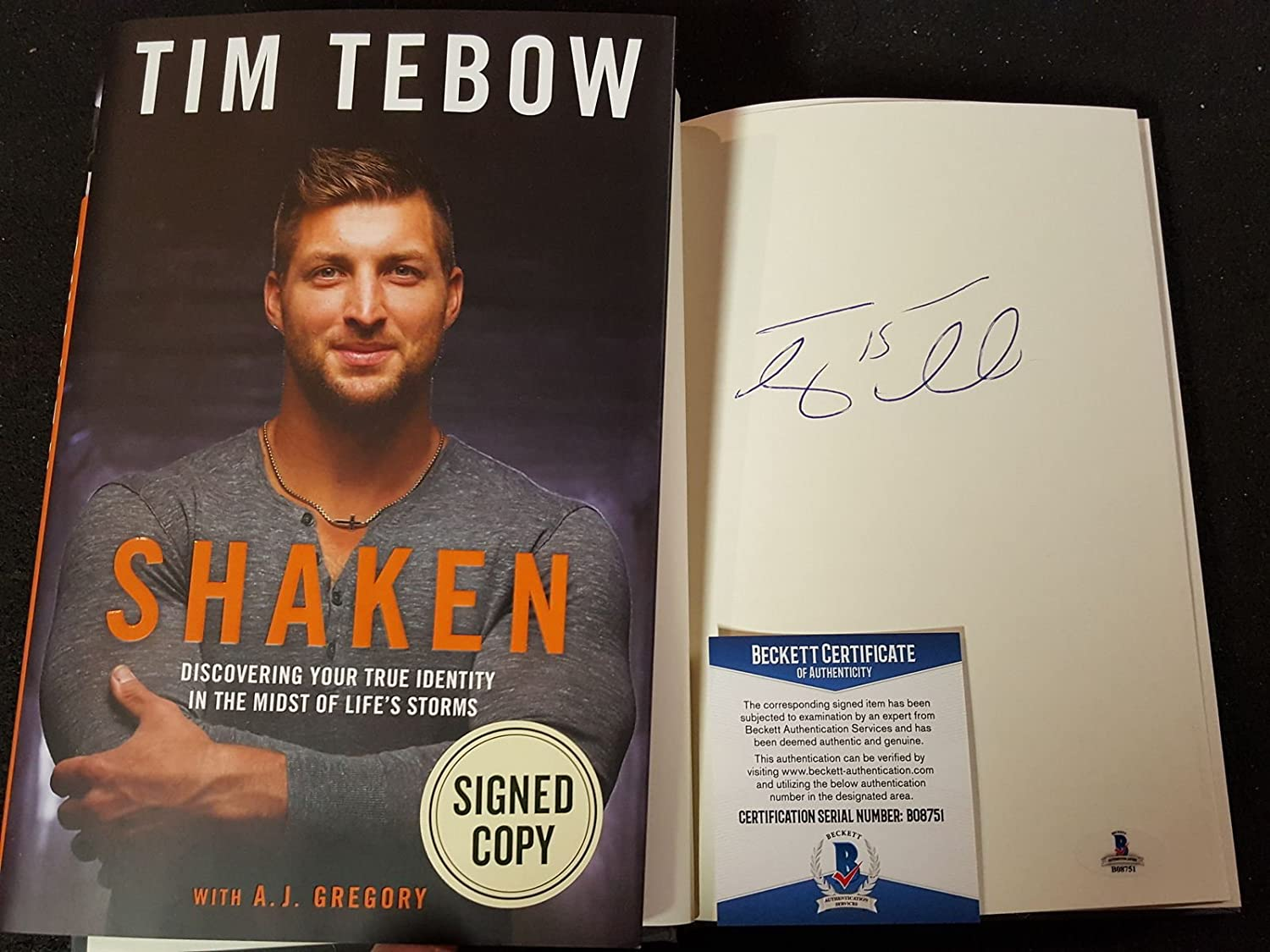 Tim Tebow Signed Book Shaken: Discovering Your True Identity BAS Beckett