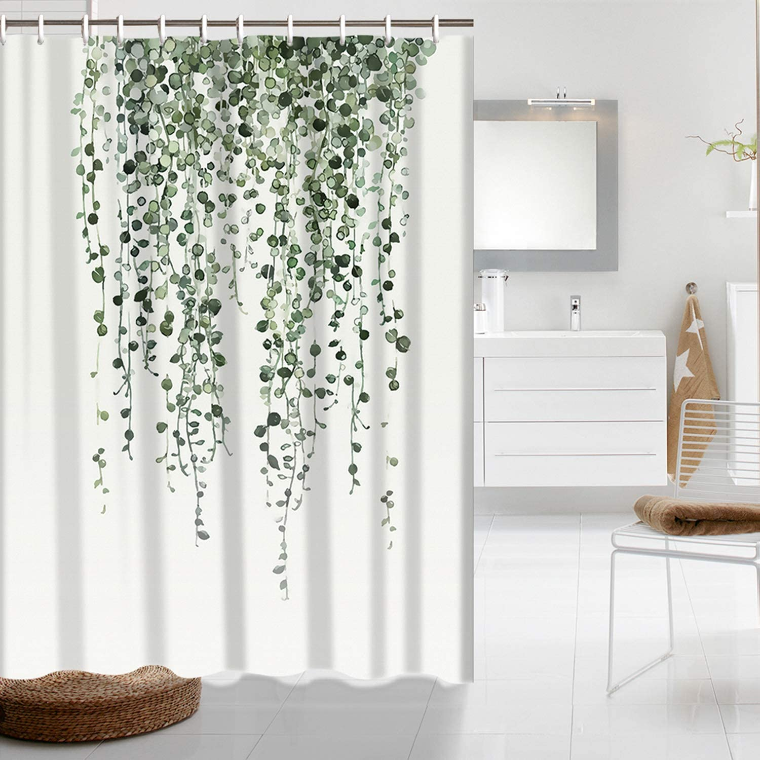 Shower Curtain Green Eucalyptus Leaves Bathroom Curtain Blurry Watercolor Plants Floral Shower Curtain Waterproof Bathroom Decor Fabric Shower Curtain Set with 10 Hooks