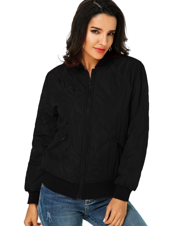 Kidsform Women Short Biker Jacket Coat Bomber Zip Pocket Casual Classic Quilted Outdoor Hoodies Black M