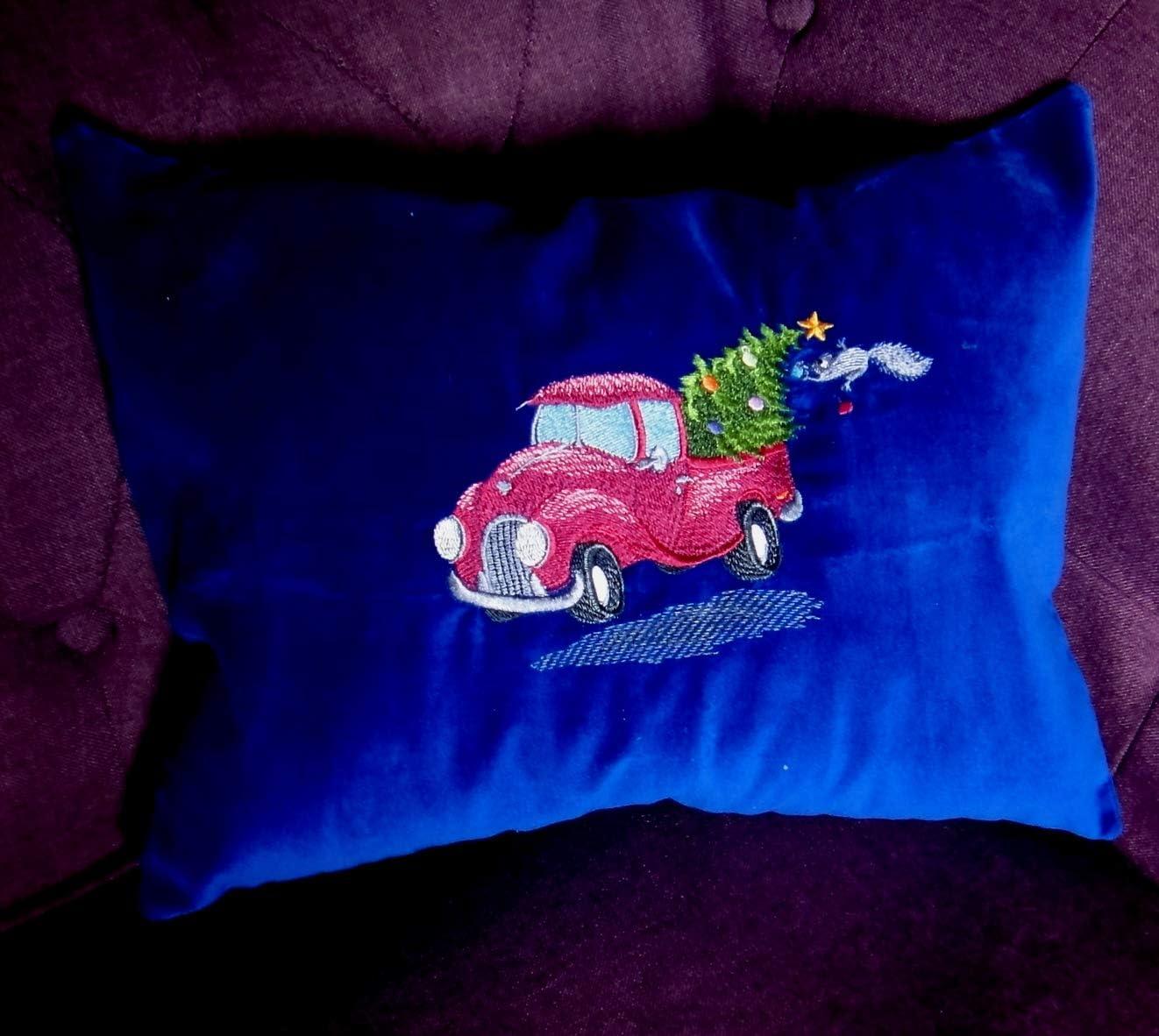 Christmas Velvet Embroidered Pillow, Vera Lisitsyna Truckin s Home for Christmas