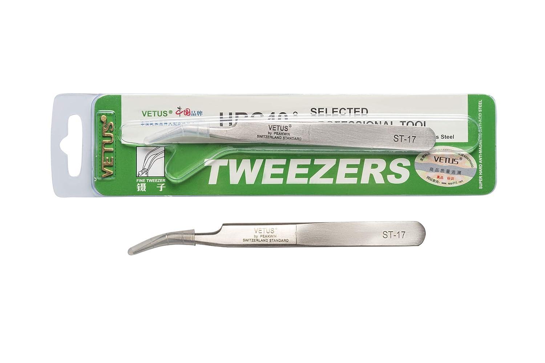 fine super tweezer for eyelash extension//selected professional tool 115mm, Slighty Curved Vetus Tweezers HRC 40 ST-17