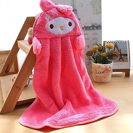 Estilo MMRM conejo de peluche para colgar toalla de mano infantil de tela suave para toallitas