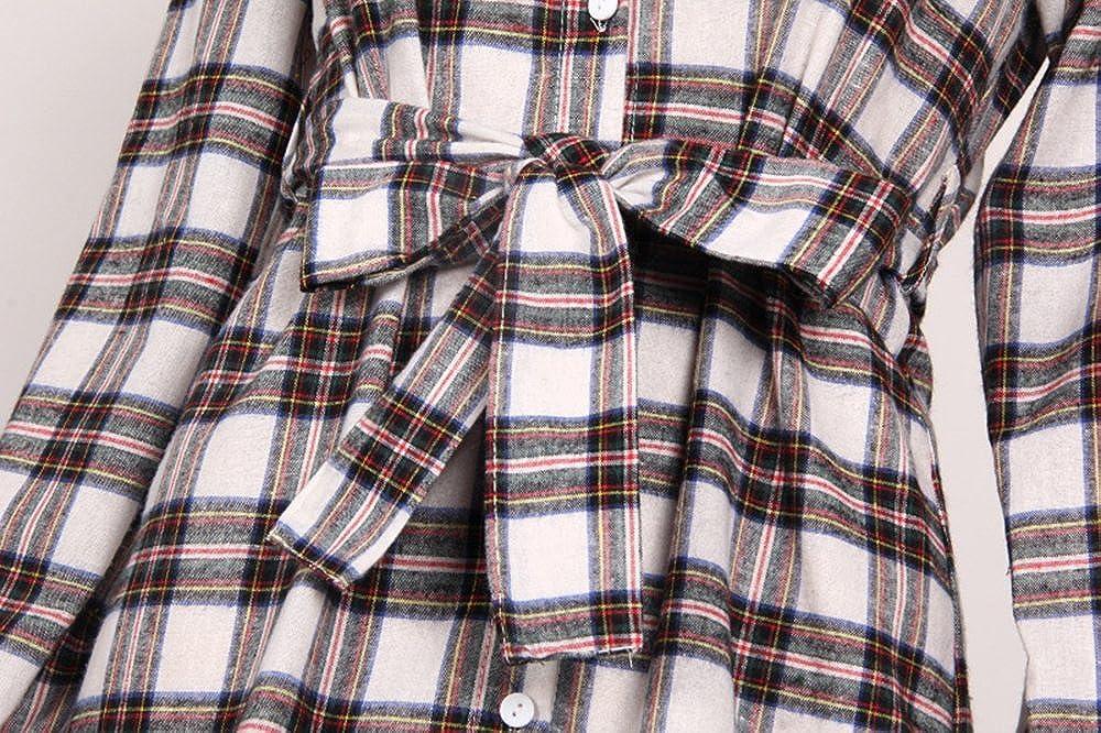 Camisa de Manga Larga a Cuadros con Cuadros de Mujer Vestido Largo con Parte Superior Superior: Amazon.es: Ropa y accesorios