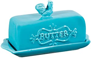 """Home Essentials 7"""" L Aqua Covered Butter Dish W/Rooster Finial"""