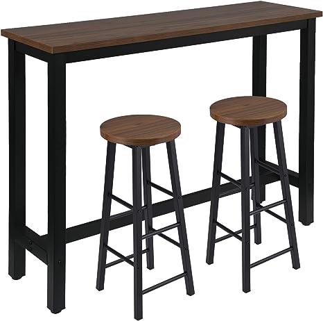 WOLTU Tavolo da Bar con 2 Sgabelli Alti Set Mobili da Bar Rettangolare Bancone per Cucina in Acciaio Legno BT30ws+BH130ws-2