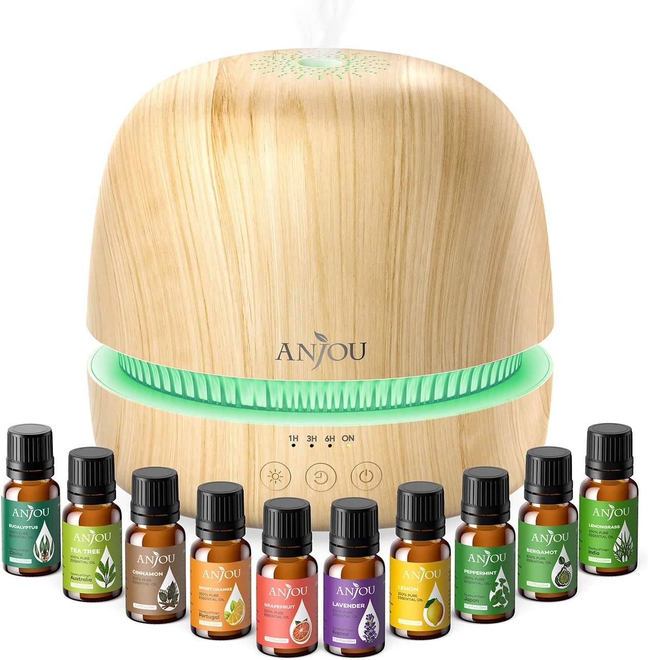 Essential Oil Diffuser Set - Anjou 300ml Ultrasonic Aromatherapy Diffuser with 10 Essential Oils Humidifiers for Constant Aromatherapy, 7 Color LED & Timer for Home Bedroom Office Study Yoga Spa
