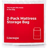 Linenspa Mattress Bag for Moving and Storage, Queen, White