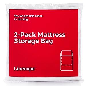 Linenspa Heavy Duty Mattress Storage Bags, Twin XL, White