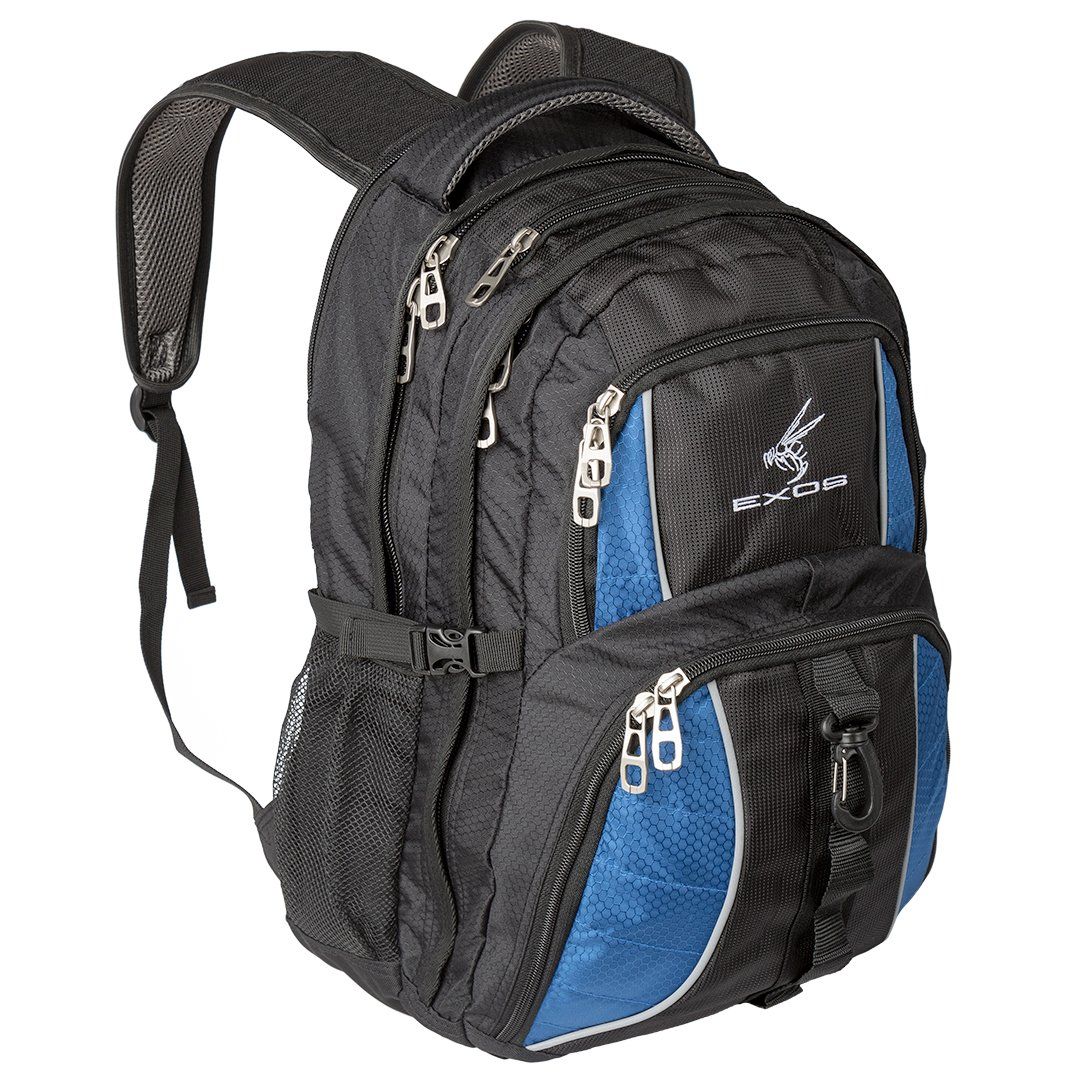 Exos Backpack, (laptop, travel, school or business) Urban Commuter by (Black with Blue Trim)