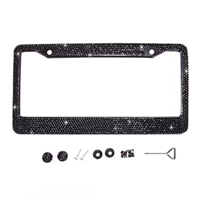 Handmade Waterproof Classic Black Bling Crystal License Plate Frame Cute Rhinestone License Plate Holder for Cars/SUV/Truck: Automotive