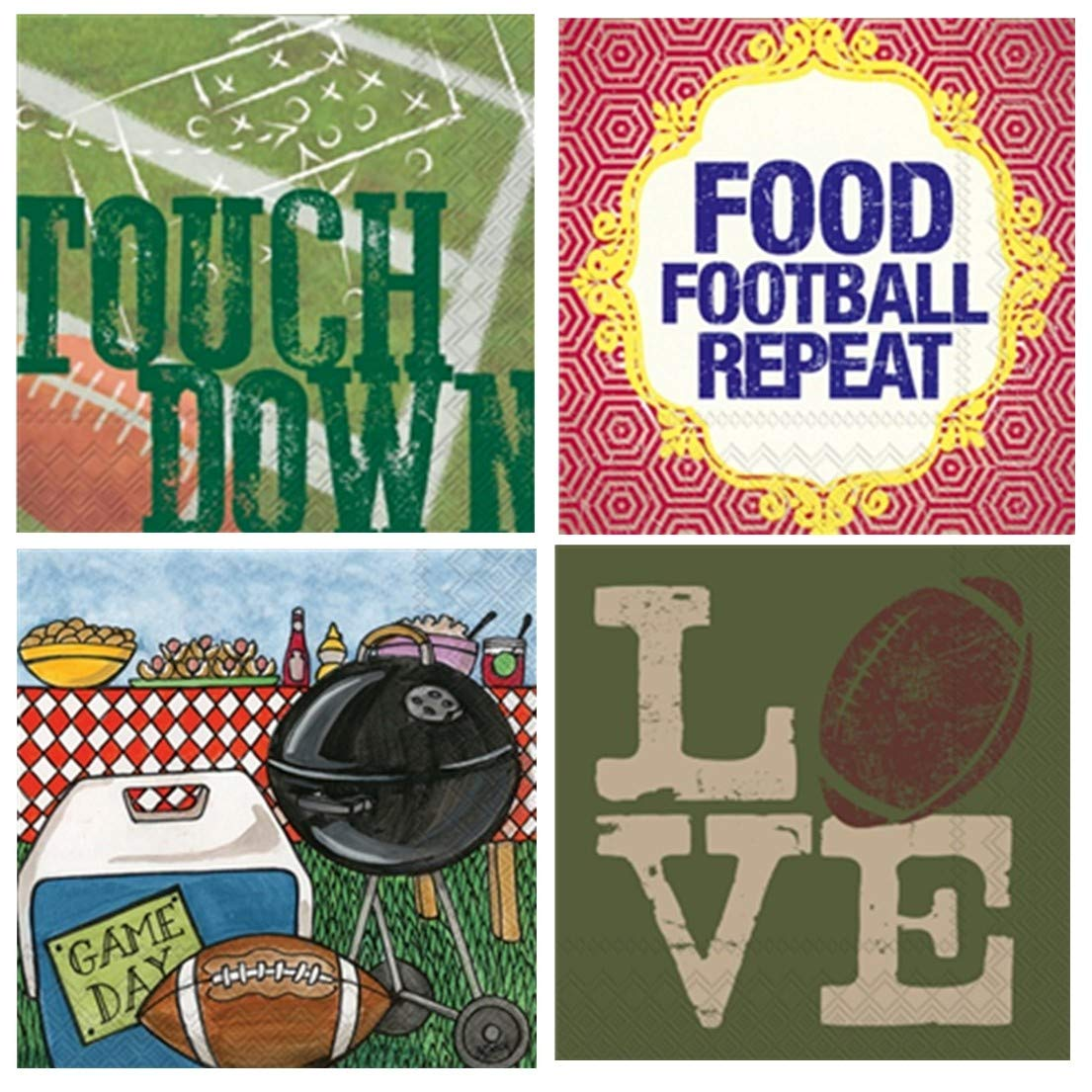 Boston International 20 Count 3-Ply Paper Cocktail Napkins, Set of 4 Football Themes by Boston International