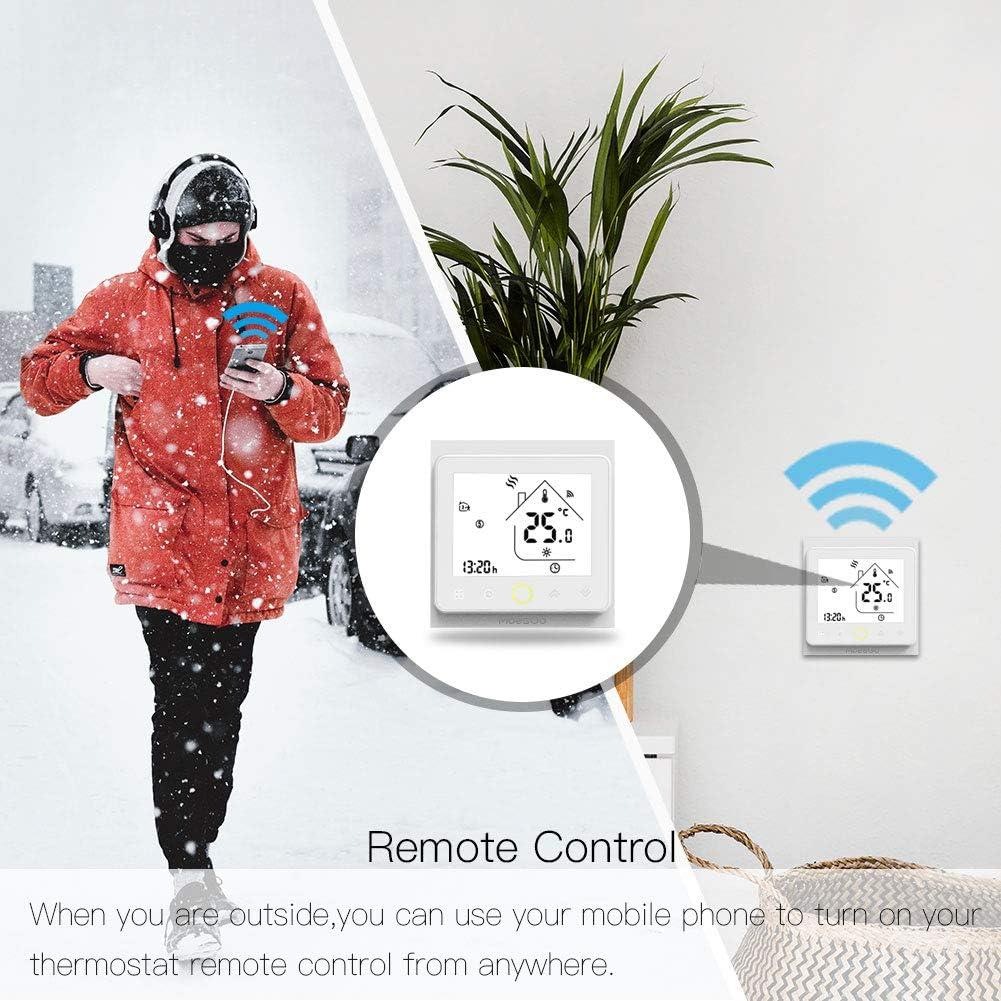compatible con las apps Smart Life y Tuya y con Alexa y Google Home MoesGo Termostato para calefacci/ón el/éctrica y regulador de temperatura activado por wifi para hogar digital