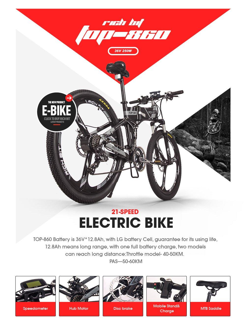 Bicicleta de montaña plegable eléctrica para hombre TB RT860. Batería de ion de litio 12,8 Ah de 7 niveles de velocidad. Velocímetro PAS de alta función 50 ...