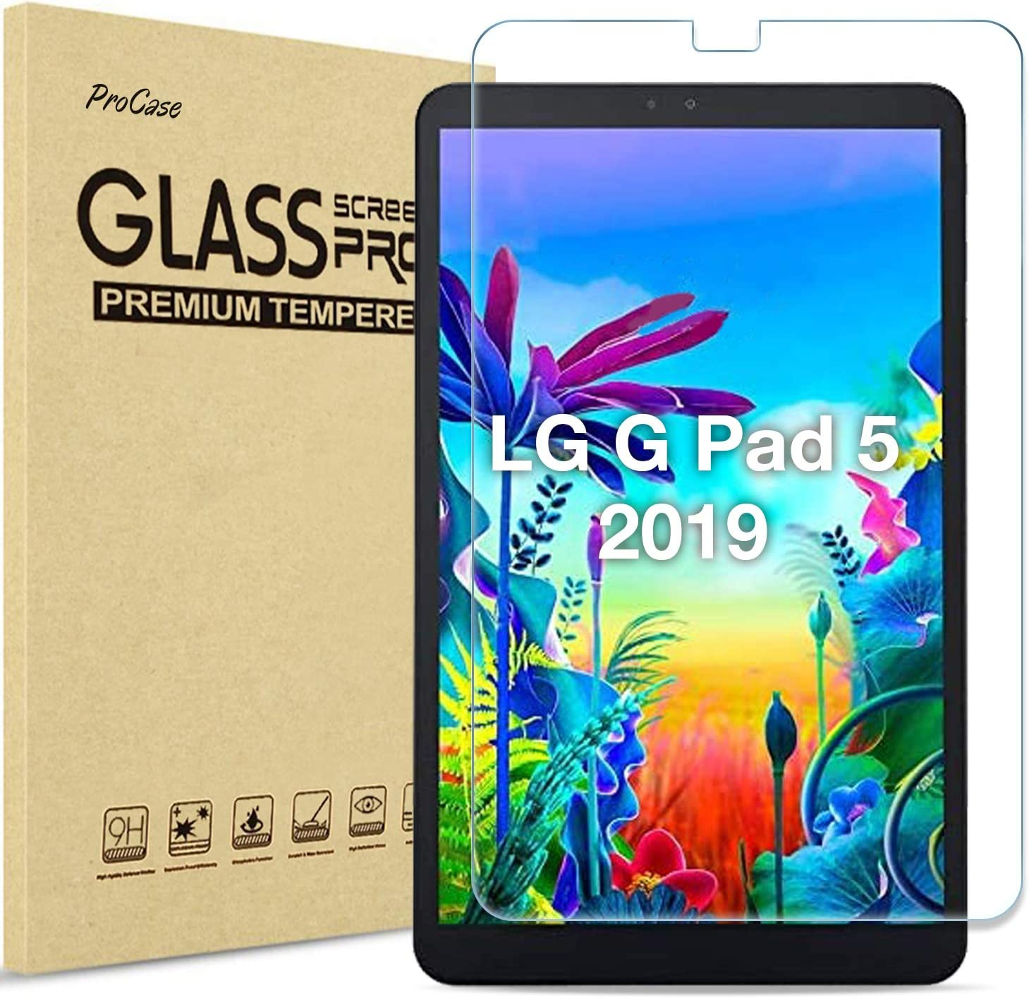 ProCase LG G Pad 5 10.1 Screen Protector 2019, Tempered Glass Screen Film Guard Screen Protector for 10.1 inch LG G Pad 5 2019 -Clear