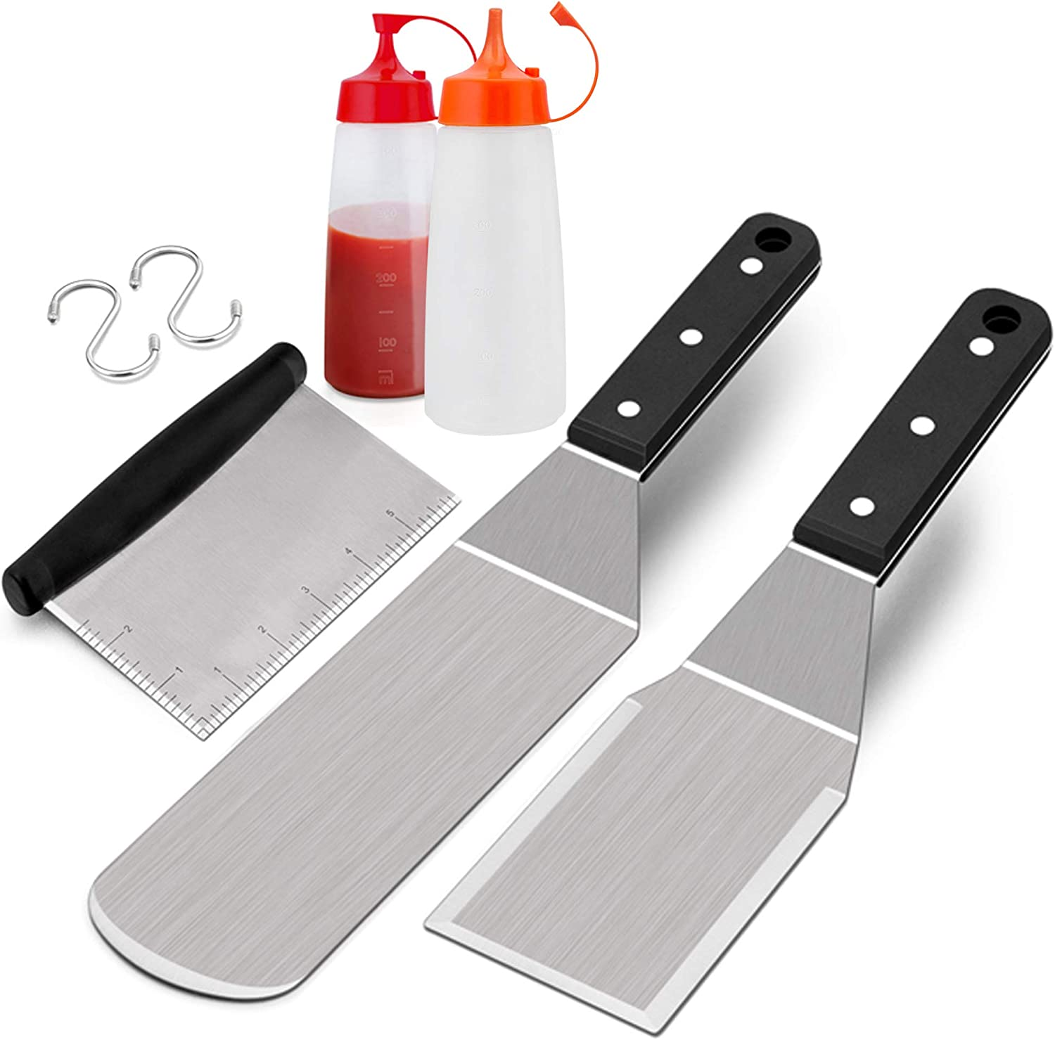 S Hooks /& Wooden Handle with Rivets Metal Spatula Set of 2 Commercial Grade Man Gift Box Leonyo Stainless Steel Griddle Accessories Griddle Spatula Scraper for Flat Top Teppanyaki BBQ Cooking