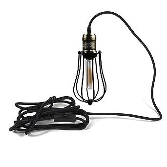 Industrial Pendant Light Ivalue Vintage Hanging Wire Cage Pendant Light  Fixture Plug In Indoor Mini Hanging
