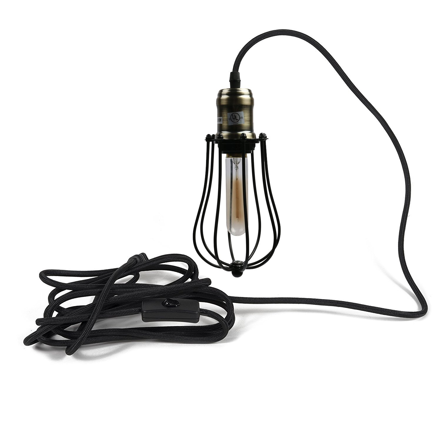 Industrial Pendant Light Vintage Hanging Wire Cage Fixture Plug In Electrical Wiring Indoor Mini