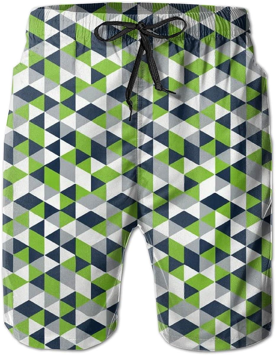 ZORITO Mens Swim Trunks Quick Dry Summer Holiday Beach Shorts with Mesh Lining Geometric Seahawk Beachwear