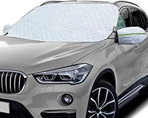 SOTOGASUKI Windshield Snow Cover Ice Frost Cover for Car Freeze Protector Winter Waterproof Wind-Proof Summer Auto Sun Shade All Weather Fits Most Cars (Sliver-2)