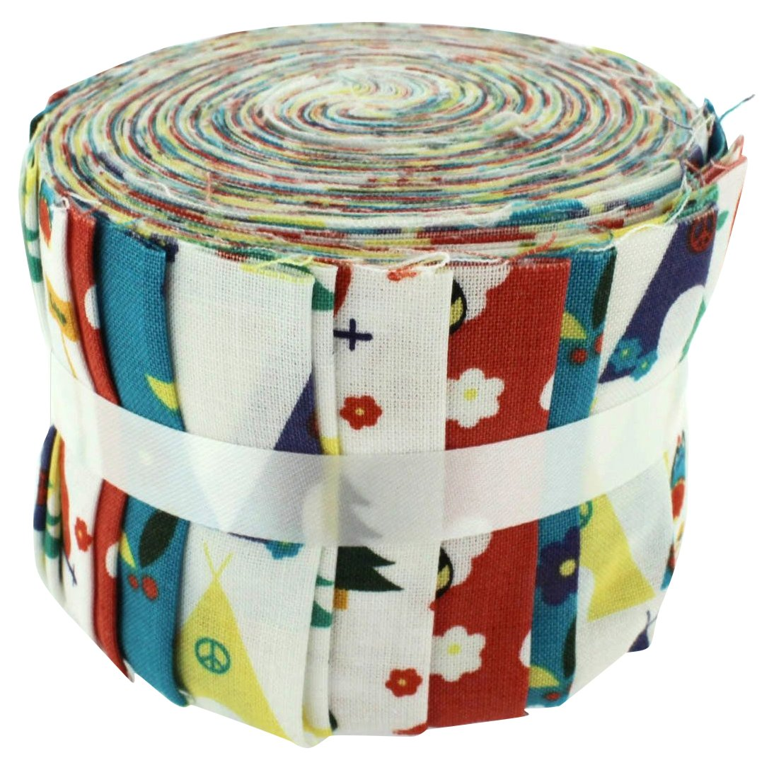 Fabric Freedom Camping Brights Jelly Baby Roll, 100% Cotton, Multicoloured, 9 x 9 x 7 cm FJ93M BRIGHTS