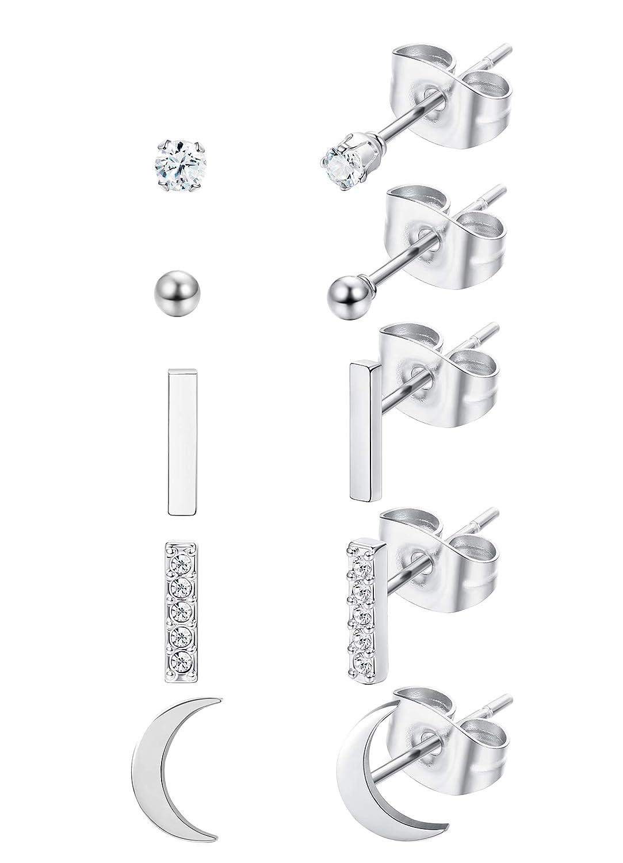 Thunaraz Stainless Steel Tiny Stud Earrings Set for Women Girls CZ Cartilage Helix Ear Piercing 8Pairs