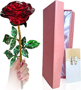 Serene Roses Rose, Crystal Gold Rose Gift Box + Gift Card! - Wife Girlfriend/Valentine's Day/Mother's Day/Wedding Day/Anniversary/Birthday The Gift That Every Woman Deserves!