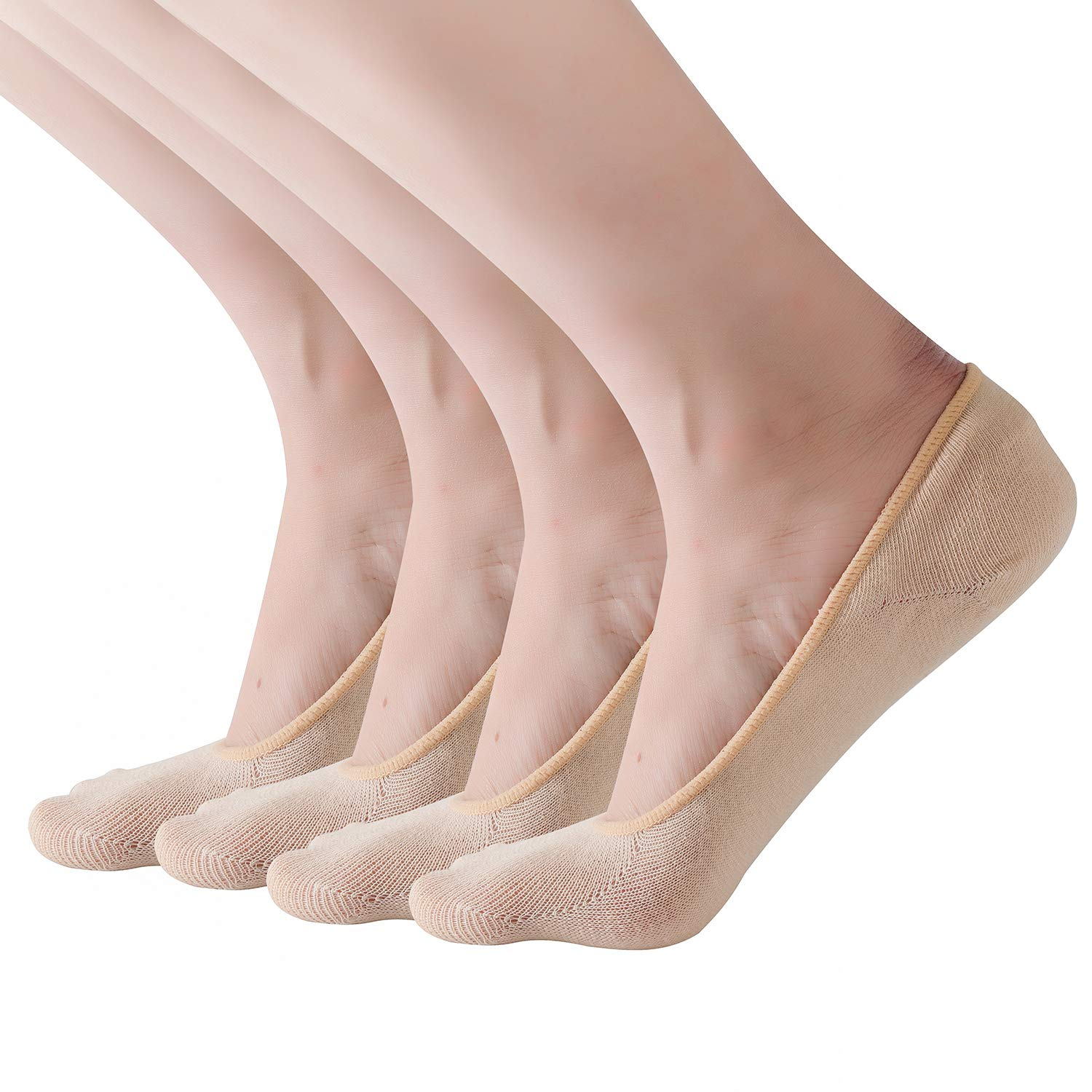 RIIQIICHY No Show Socks Women Low Cut Liner Non-Slip for Flats Cotton 4 to 6 Pack
