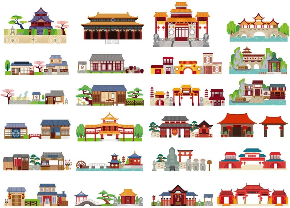 Seasonstorm Kawaii Retro Chinese Building Aesthetic Diary Travel Journal Paper Stickers Scrapbooking Stationery