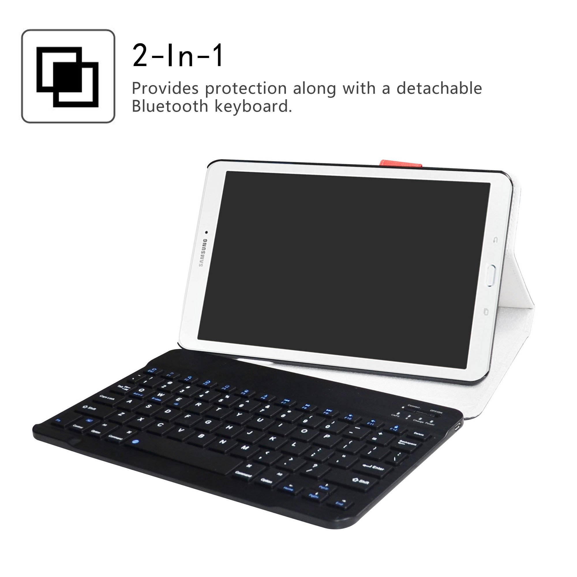 Samsung Galaxy Tab E 9.6 Bluetooth Keyboard Case,LiuShan Detachable Wireless Bluetooth Keyboard Standing PU Leather Cover for 9.6'' Samsung Galaxy Tab E 9.6 T560 Android Tablet,Black by LiuShan (Image #2)
