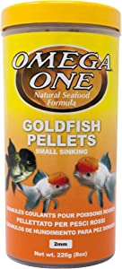 Omega One Goldfish Pellets, Sinking, 2mm Small Pellets, 8 oz