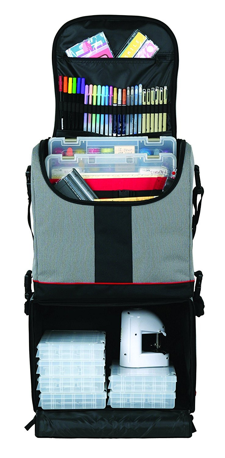 ArtBin Tote Express, Black/Gray Rolling Art Craft Storage Bag,6922SA (Pack of 2)
