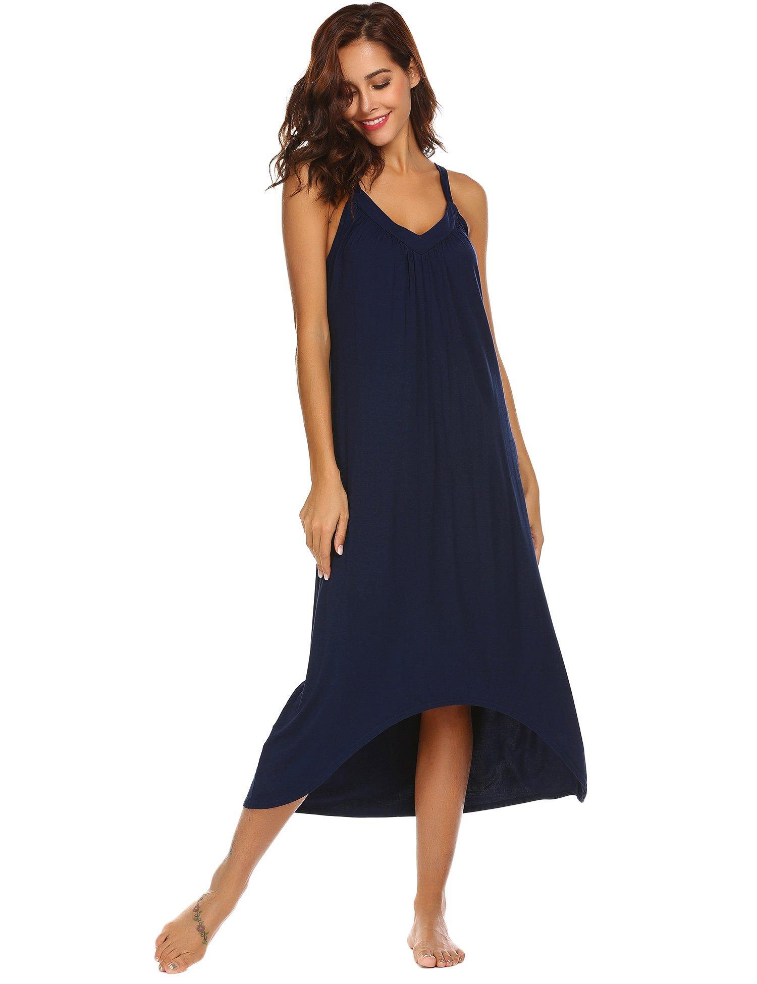 Skine Womens Sleeveless Long Nightgown Summer Slip Night Dress Cotton Sleepshirt Chemise