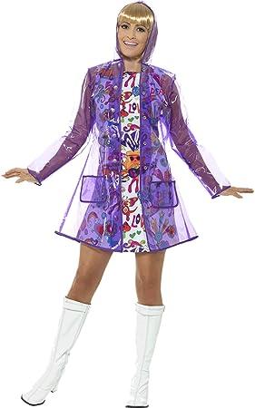 Fasching Fete Mujer Disfraz años 60 Chubasquero con capucha ...