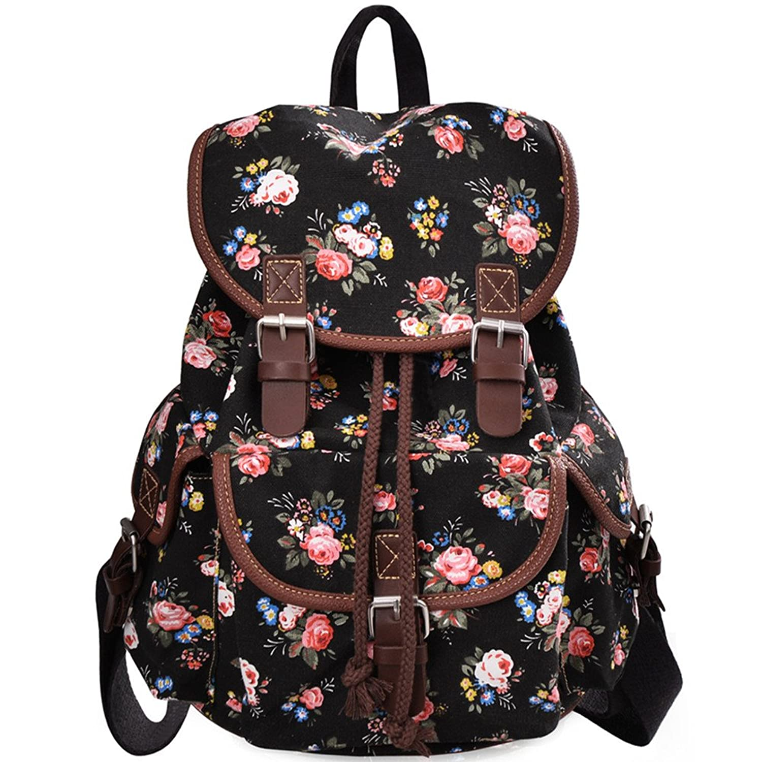 Amazon.com | Douguyan Women Floral Print Casual Canvas Backpack ...